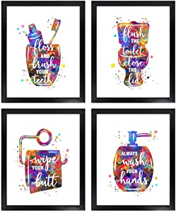 Dignovel Studios Unframed (Set of 4) 8X10 Funny Bathroom Signs Bathroom Rules Watercolor Wall Art Prints dnc21