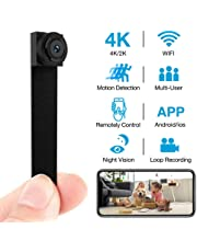 Hidden Camera 4K WiFi Wireless 2019 Newest DIY Mini Camera with 7 Level Motion Detection Sensitivity and Automatically Turn on and Off Night Vision Function for iPhone/Android Device Home Surveillance Nanny Cam