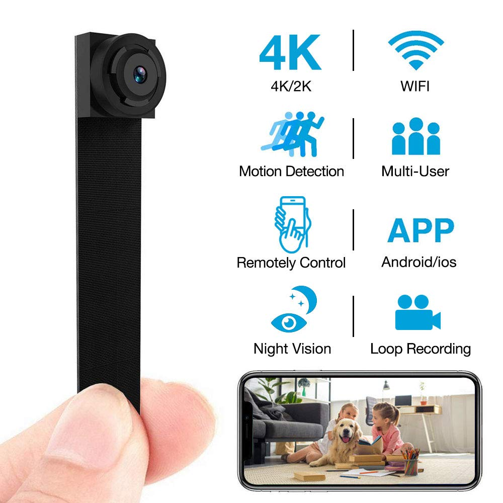 Hidden Camera 4K WiFi Wireless 2019 Newest DIY Mini Camera with 7 Level Motion Detection Sensitivity and Automatically Turn on and Off Night Vision Function for iPhone/Android Home Security Camera