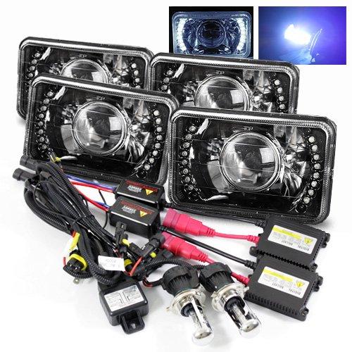 ModifyStreet 4PC 10000K Deep Blue H4-3 Hi/Low Slim HID/4x6 H4651/H4652/H4656/H4666 Black Projector Headlights Lamps Conversion w/White LED Ring