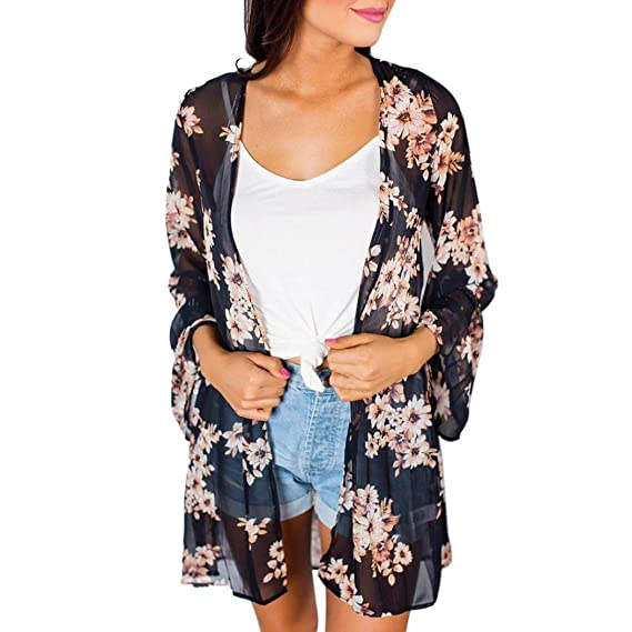 DEELIN Mujeres del Verano Floral Gasa Kimono Cardigans Blusa Cubierta Ups (S, Negro)