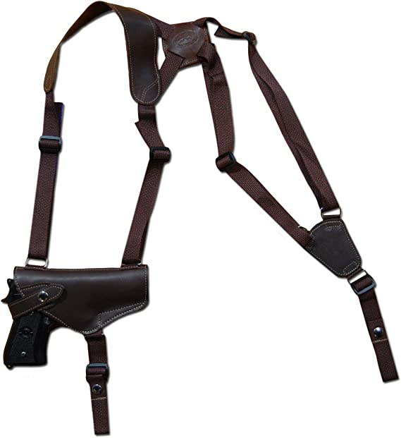 Barsony New Horizontal Brown Leather Shoulder Holster for Full Size 9mm 40 45