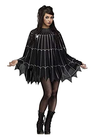 Spider Web Cape Ladies Halloween Fancy Dress Accessory One Size