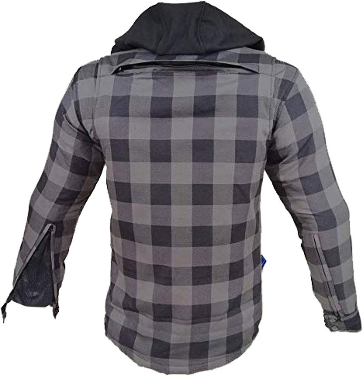 EURO STARS Motorrad XS und Flanell-Holzf/ällerhemd mit KEV ARAMID Lumber Biker Jacke Grau Hemd