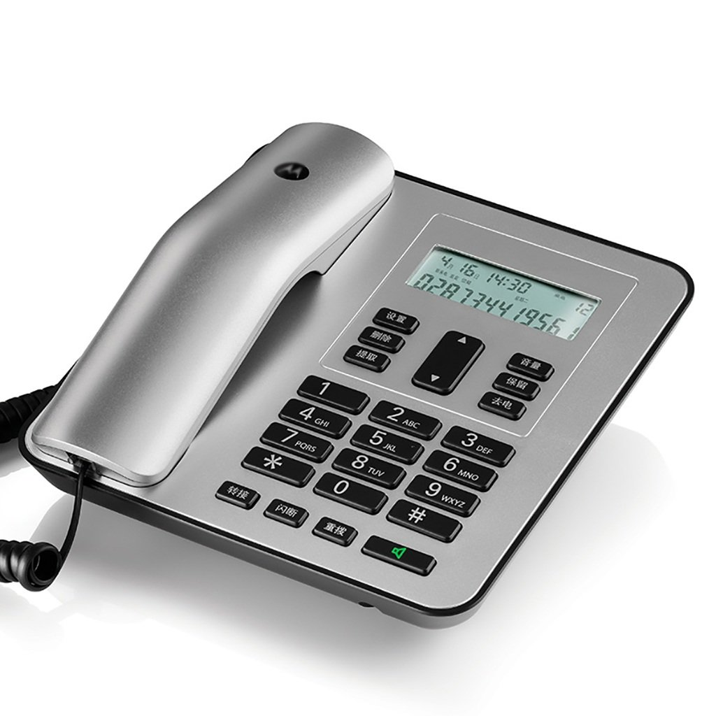 Wired Fixed Telephone Business Telephone Home Office Telephone, Can Connect Extension, Fast Dial landline (Color : Silver)