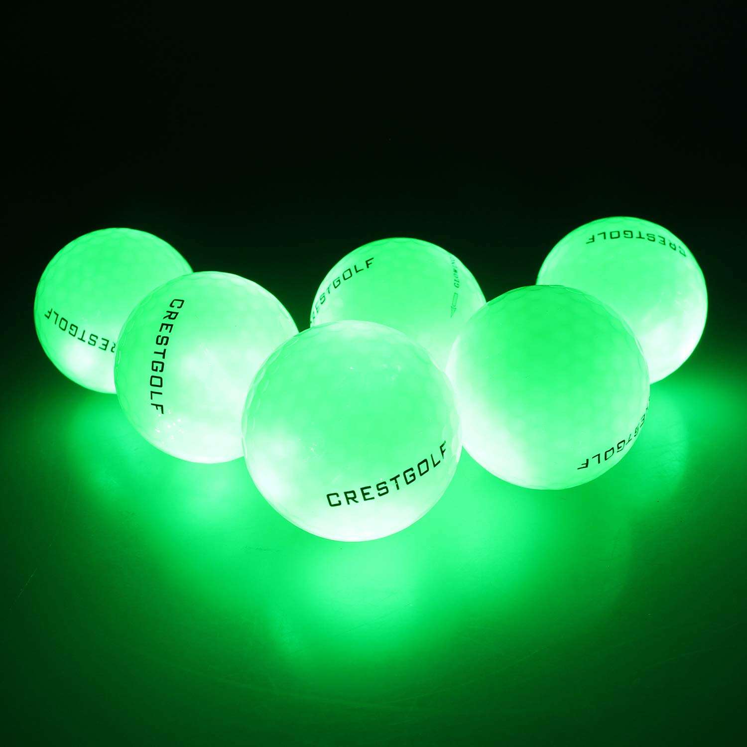 Crestgolf Flashing Glowing Golf Ball,Night Glow Flash Light up LED Golf Ball (6 Pack),six Color for Your Choice (Green) by Crestgolf