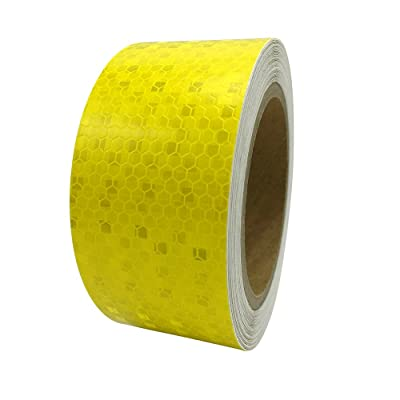 "PerfecTech 2""x 118"" Reflective Pure Color Aveolate Honeycomb Prismatic Pattern Conspicuity Hazard Safety Warning Caution Tape Film (Yellow): Automotive"