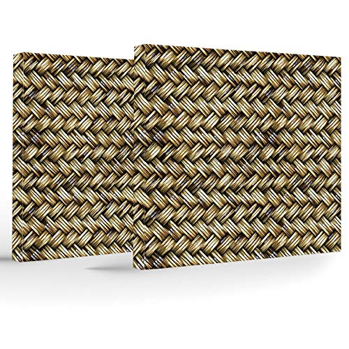 (iPrint Birthday Decorations,Abstract,Modern Stretched and Framed Artwork,Rattan Basket Weave Pattern Natural Boho Country Style Geometric Monochrome Art Design)