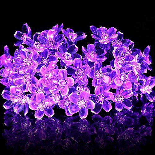 Solar Fairy String Lights 23ft 50 LED Purple Blossom Decorative Gardens, Lawn, Patio, Christmas Trees, Weddings, Parties (Light Up Nativity Sets For Outdoors)