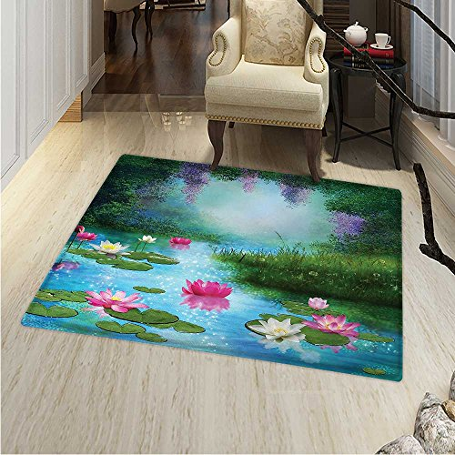 (Nature Small Rug Carpet Fantasy Pond Water Lilies Floating Romantic Lotus Fairy Tale Digital Art Door mat Indoors Bathroom Mats Non Slip 2'x3' Aqua Pink Green)