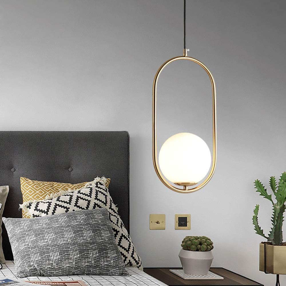 Chitty Nordic Creative Personality Ring Magic Beans Postmodern Porch Aisle Bedroom Bedside Single Head Glass Lampshade Small Chandelier/Lighting Decoration Creative