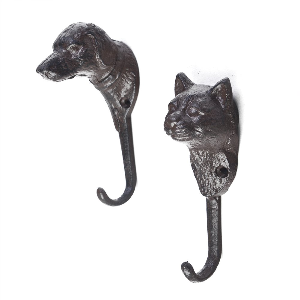 Superwind Set of 2(cat&dog) Cast Iron Animal Hook Strong Load-bearing Creative Home kitchen Decoration Hangers Coat Key Hooks with Screws,Dark Brown, Dog-1.9x5.5,Cat-1.9x5.3