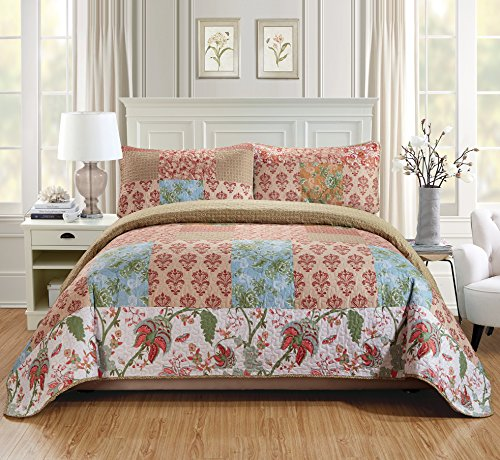Fancy Linen 2pc Twin/Twin Extra Long Quilt Bedspread Set Over Size Bed Cover Squares Floral Beige Blue Rust Taupe Green White New