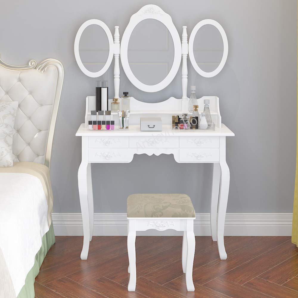 QIHANG-US Dressing Table Set Vanity Makeup Table Set with 3 Mirrors  Cushioned Stool 7 Drawers for Girls Bedroom Closet Hallway (White)