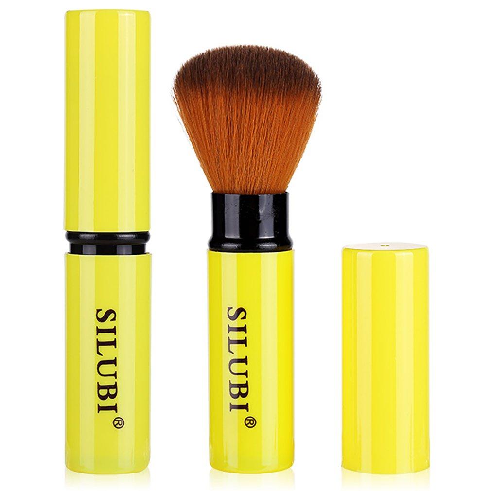 Kabuki retrattile, Pennello per arrossire trucco - Miglior pennelli Kabuki per miscelazione. Cosmetici minerali in polvere, modellanti, crema o liquidi. Pennello compatto fard rosa compatto SILUBI