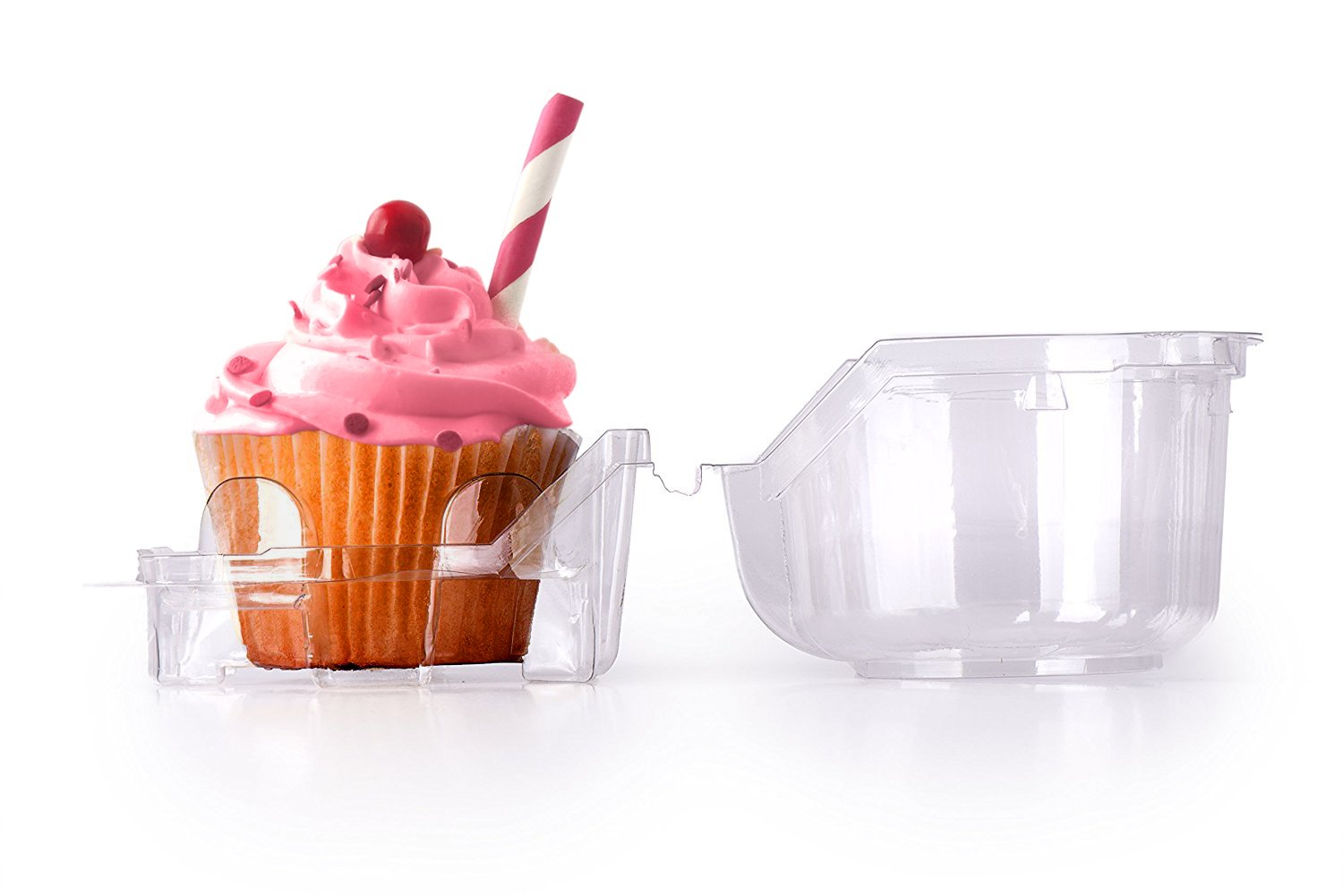 cupcake and Muffin Containers, Individual Cupcake Boxes, Strong and Sturdy, BPA Free, crystal Clear Plastic,with Superior Hinged Lid, Clear Individual Plastic Cupcake Boxes (50,4''WxH'3)
