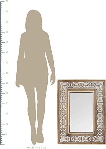 Stratton Home D cor Stratton Home Decor Hillary Wall Mirror, Natural Wood, White