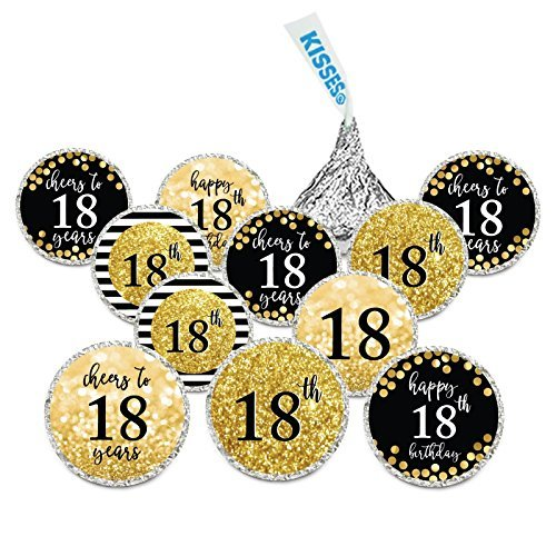 Andaz Press Glitzy Faux Gold Glitter Milestone Chocolate Drop Labels, Cheers to 18 Years, 18th Birthday or Anniversary, 240-Pack, Not Real Glitter, Hershey's Kisses Party Colored Decorations
