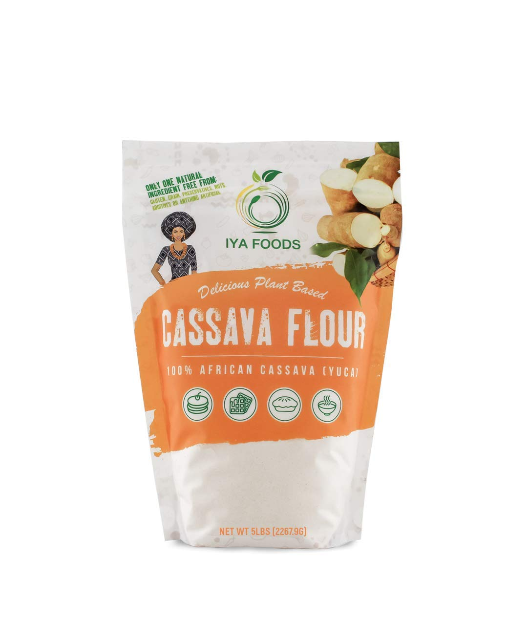 Iya Foods Premium Cassava Flour 5 lb. bags, Gluten-Free, Kosher certified, Paleo. by Iya Foods