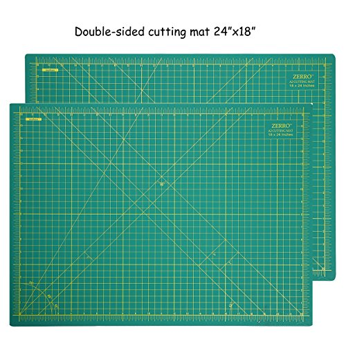 ZERRO Self Healing Cutting Mat 24 X 18 INCHES with Grids and Angles for Crafts Sewing Hobbies(A2)