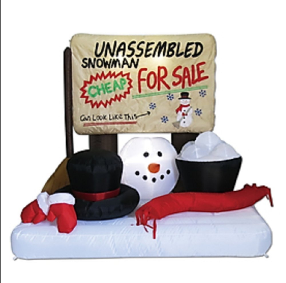 CHRISTMAS INFLATABLE UNASSEMBLED SNOWMAN WHIMSICAL OUTDOOR HOLIDAY DECORATION by Holiday Living