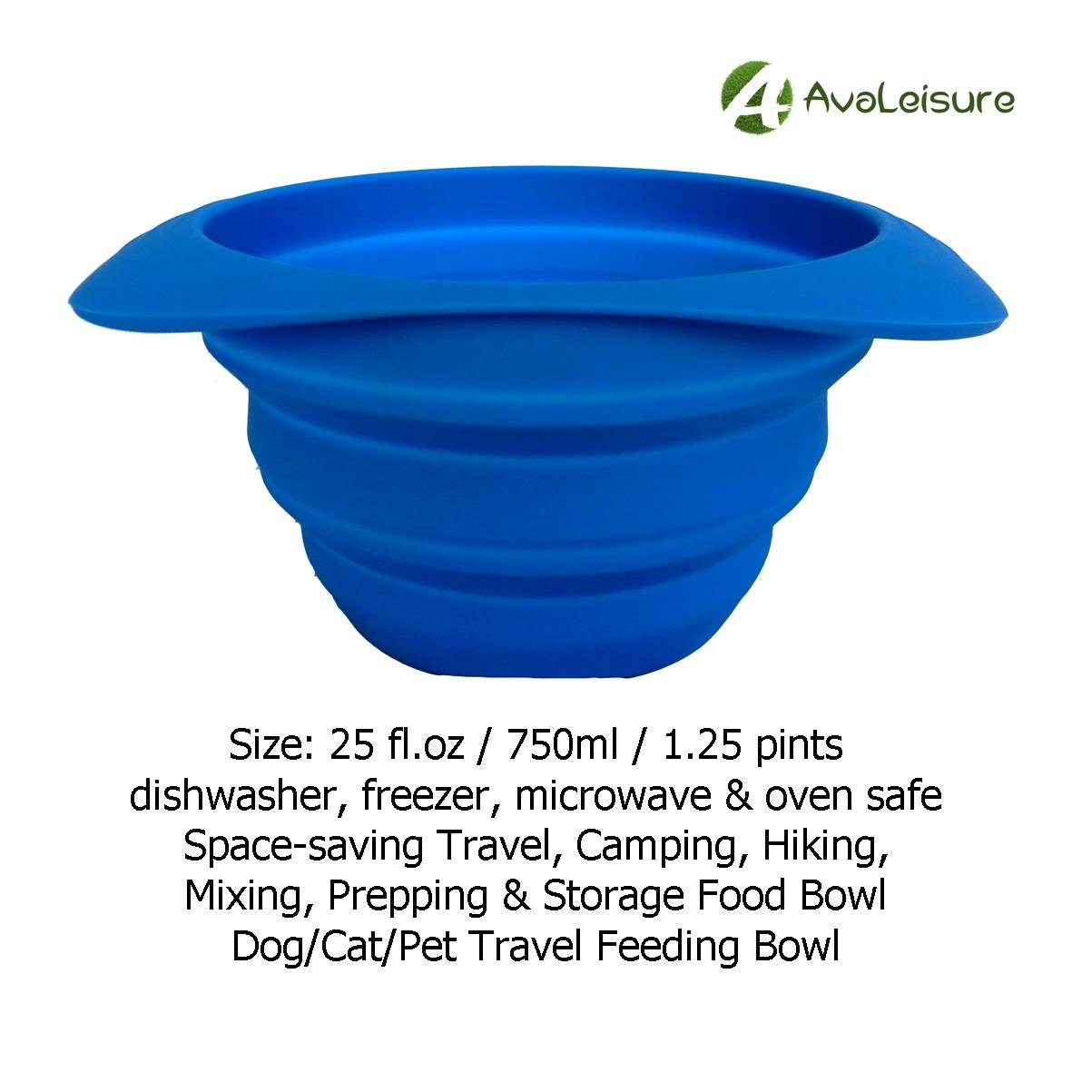 Camping AVALEISURE Collapsible Silicone Travel Cup- The Genuine 10oz Foldable Drinking Mug with Lid Water Tea /& Snacks for Hiking Picnic /& Commuting to Work Avalon-Express Coffee BPA Free