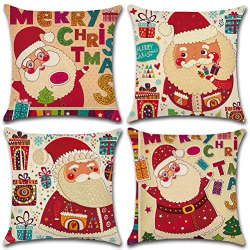 NKIPORU 4Pcs Merry Christmas Cotton Linen Pillow Cover Square Burlap Decorative Throw Pillowslips Cushion Cover Pillowcases with Christmas Tree Santa Claus Christmas Deer Element, Series 4