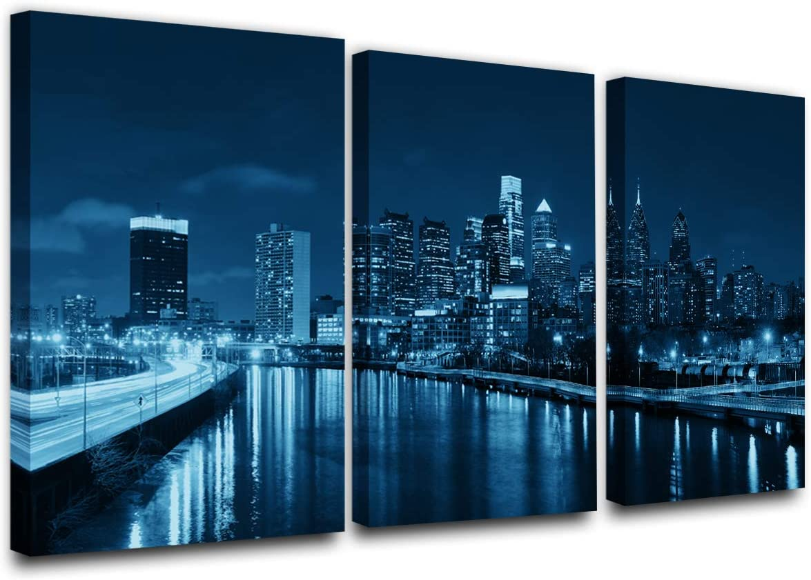 Panoramic Philadelphia Cityscape at night with urban architecture Picture, Black and White Stretched Canvas Art Prints, Wall Decoration for Bedroom or Office, Framed and Ready to Hang(24''x12''x3)