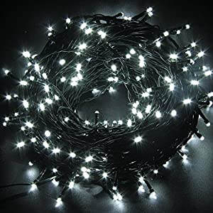 led string lights white 50m164ft 250 leds waterproof 8 modes for indoor outdoor christmas lights fairy lights wedding decoration party lights