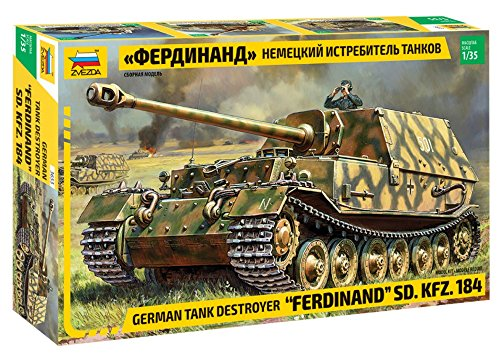 (ZVEZDA 3653 - German Tank Destroyer FERDINAND Sd.Kfz.184 - Plastic Model Kit Scale 1/35 292 Parts Lenght 9.1