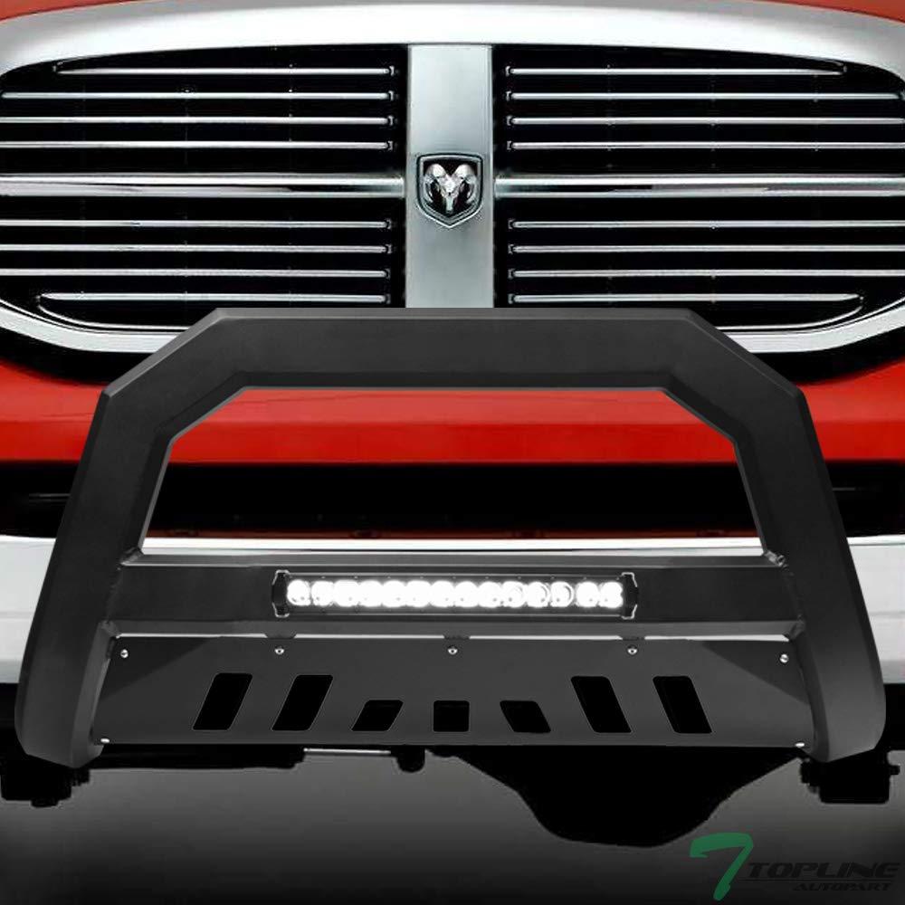 Topline Autopart Matte Black AVT Style Aluminum LED Light Bull Bar Brush Push Front Bumper Grill Grille Guard With Skid Plate For 06-08 Dodge Ram 1500 ; 06-09 2500//3500 ; 08-09 4500 5500