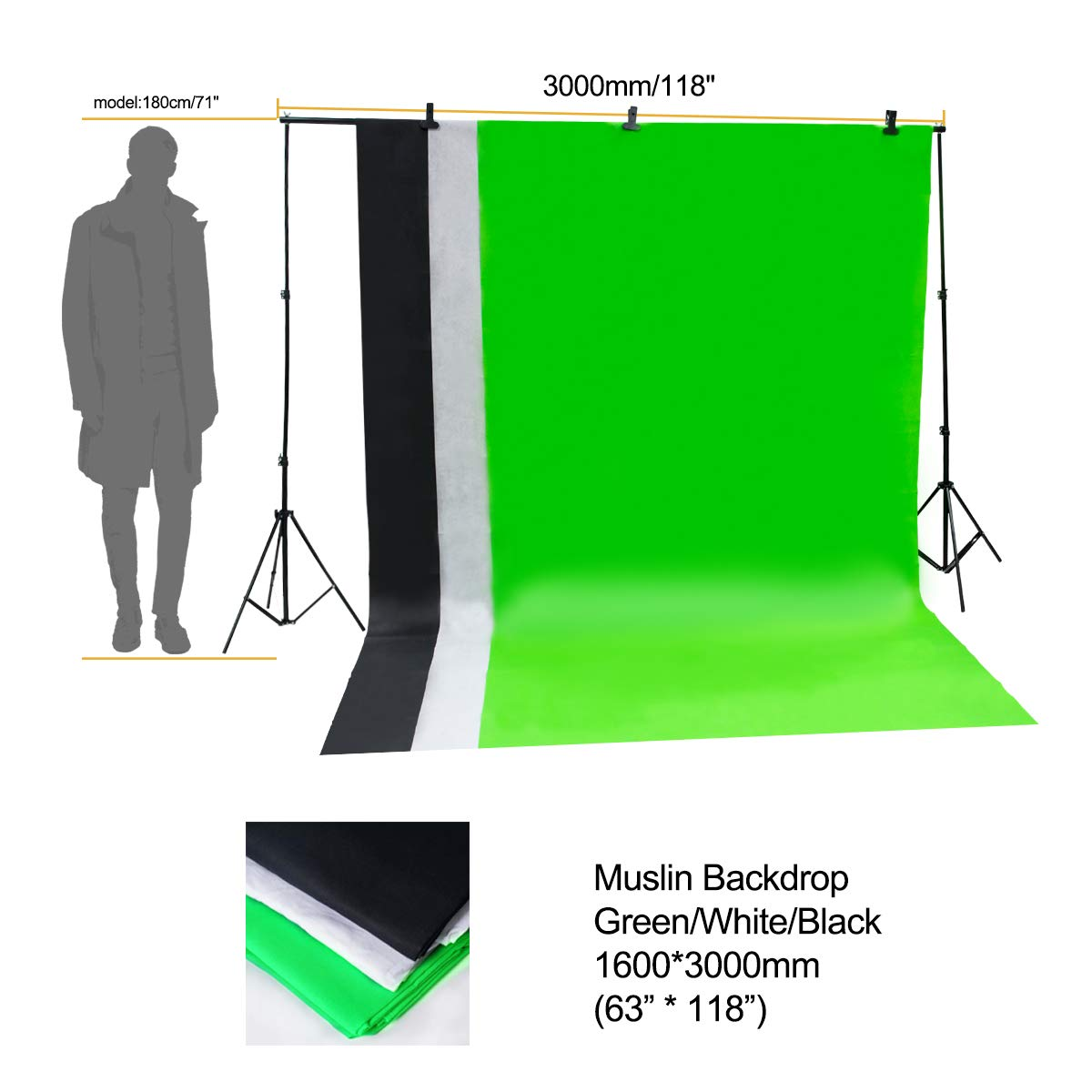 Wisamic Photography Video Studio Lighting Kit, Background Support System 10ft x 6.6ft/2MX3M with 3 Color Backdrop, 3 Umbrella, 3 Softbox, Continuous Lighting Kit for Photo Video Shooting Photography by Wisamic (Image #8)
