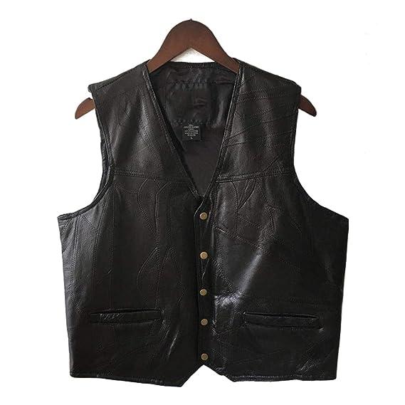Mens Waistcoat Black Biker Vest Genuine Leather Motorcycle ...