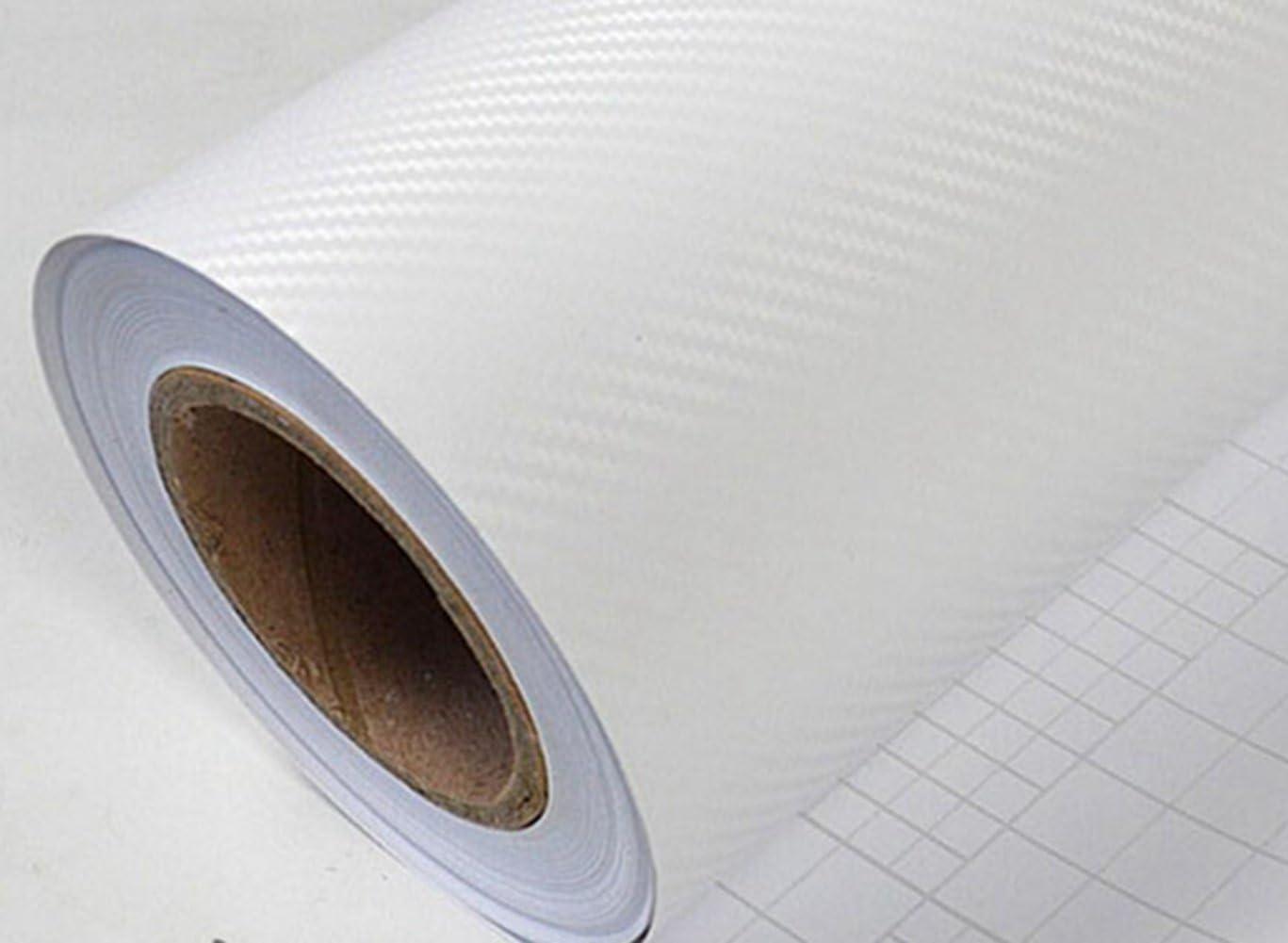 White self-Adhesive Wallpaper, Carbon Fiber Vinyl Wrap Roll,Carbon Fiber self-Adhesive Paper, Anti-Scratch Film, Color Change Film, Contact Paper, Furniture Sticker, Waterproof Decorative Sticker