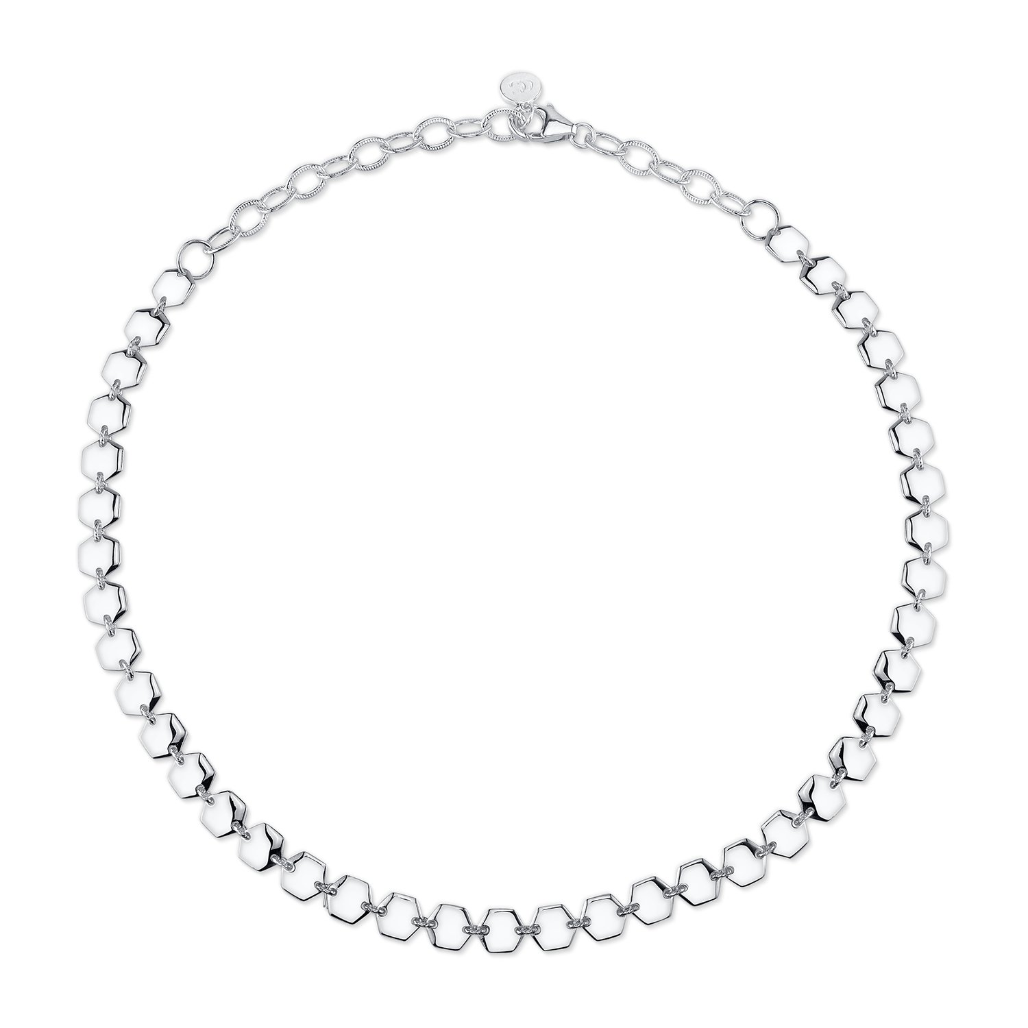CHARLIZE GADBOIS 925 Sterling Silver Hexagon Choker Necklace, White Rhodium, 14''