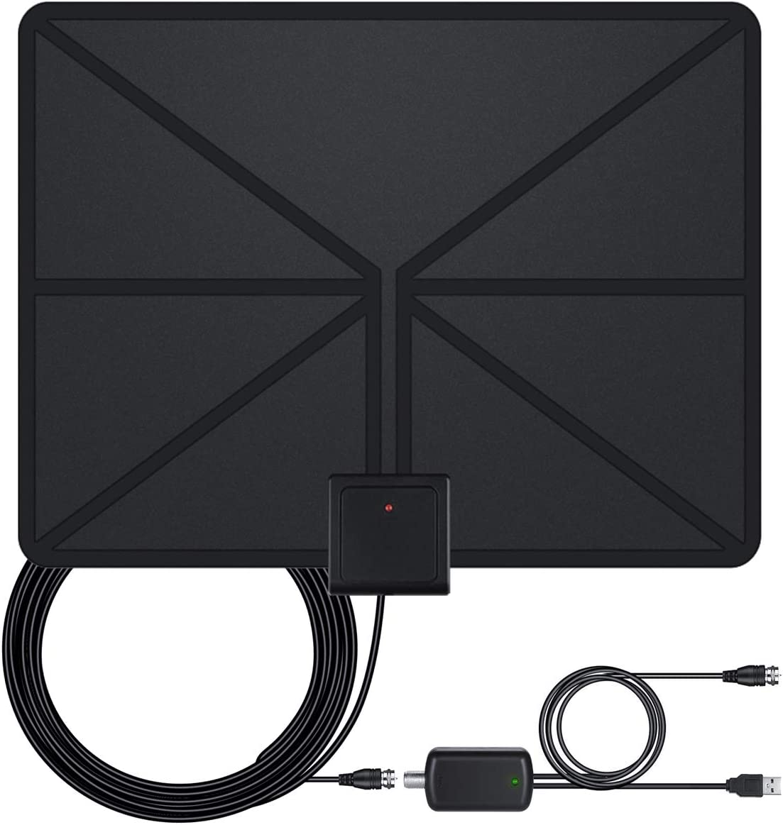 Indoor Amplified HD Digital TV Antenna up to 130 Miles Range Latest 2020 HDTV Antenna with Powerful Signal Booster,Support 4K 1080P UHF VHF Freeview HDTV Channels for All Indoor TVs