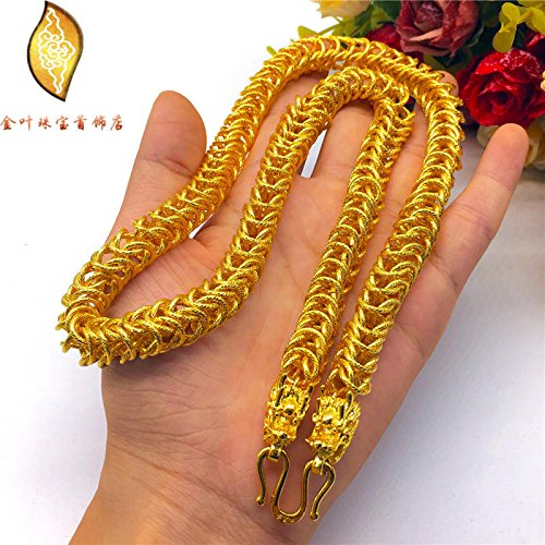 24k Hard Gold Plated (Generic Vietnam_alluvial_ gold _frosted_keel_3D_hard_Jinshuang_ long _head_ men's 18K gold-plated jewelry necklace Pendant _European_currencies_ 24k)