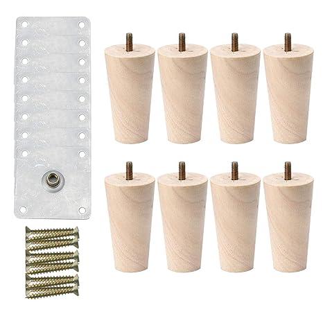 Pleasing Amazon Com Uxcell 6 Inch Round Solid Wood Furniture Legs Frankydiablos Diy Chair Ideas Frankydiabloscom