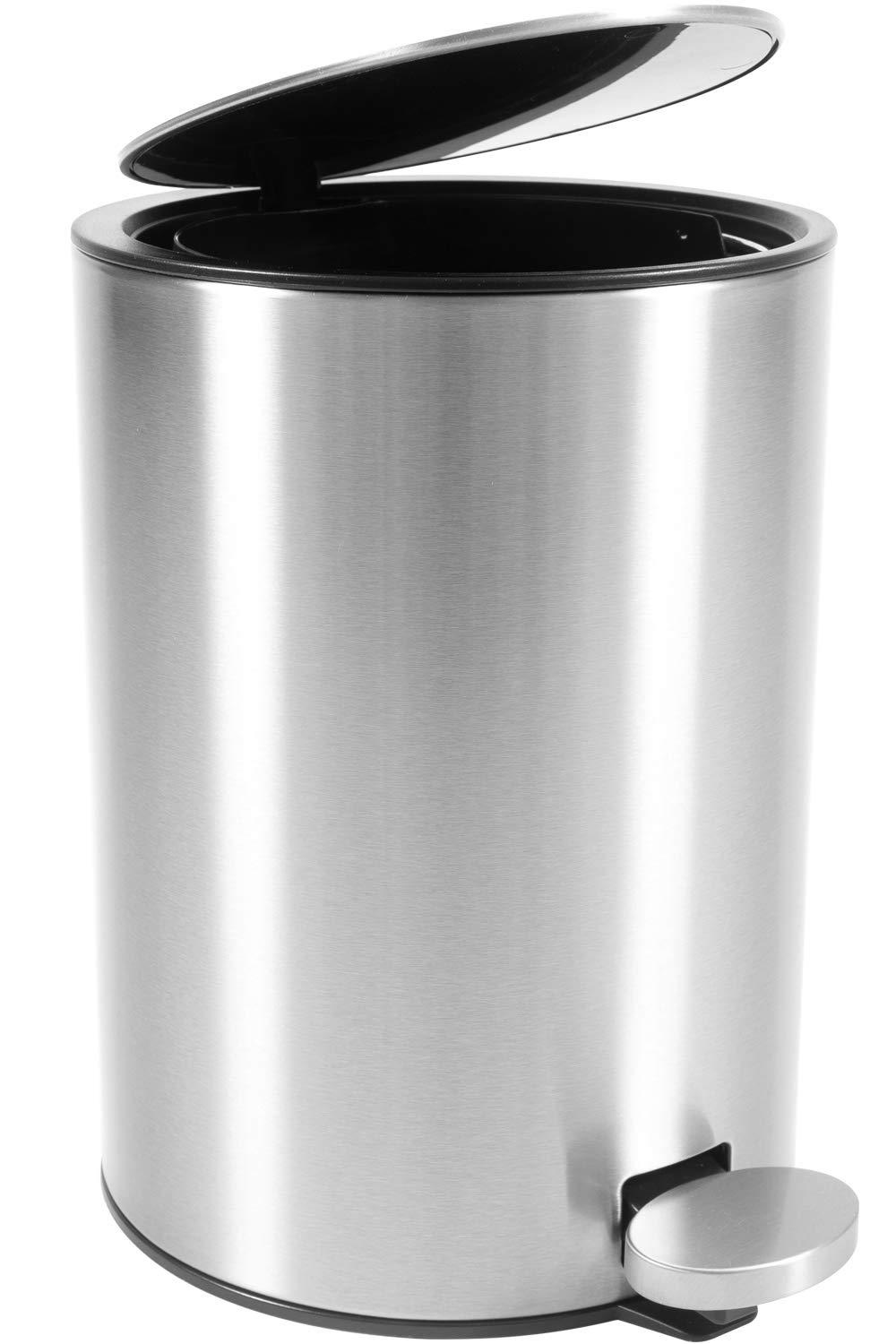Bamodi Bathroom Bin 3L – Small Pedal Bin for Bathroom, Toilet, Restroom – Stainless Steel Rubbish Waste Trash Can with Removable Inner Bucket