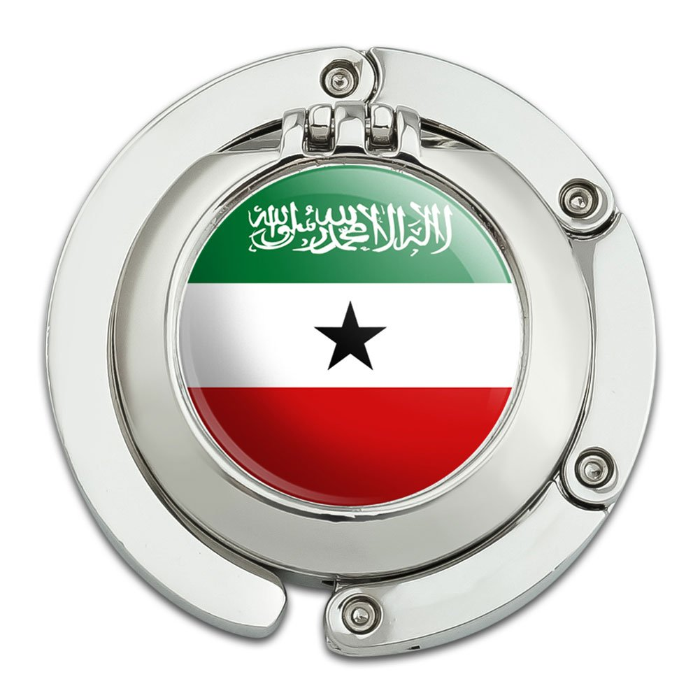 Somaliland National Country Flag Foldable Table Bag Purse Caddy Handbag Hanger Holder Hook with Folding Compact Mirror