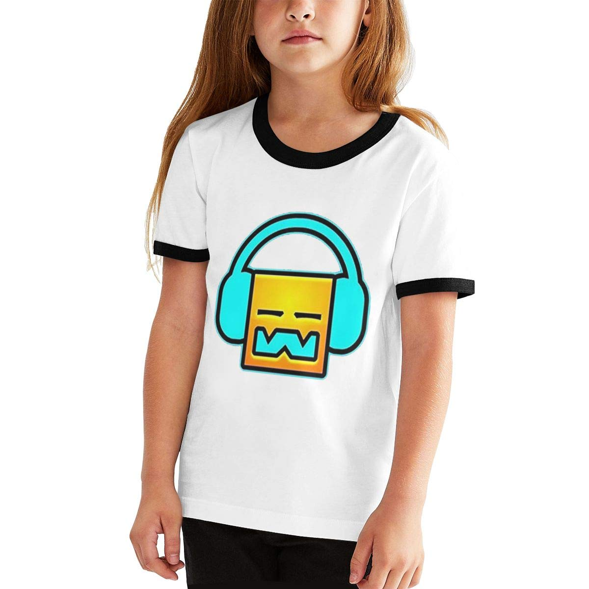 Monicame Teens Geometry Dash Leisure Comfortable T-Shirt Short Sleeve