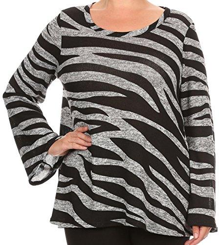 BNY Women Plus Size Long Sleeve Zebra Striped Print Knit Top Tee Shirt USA Black Gray 2XL B4510 ANI ()