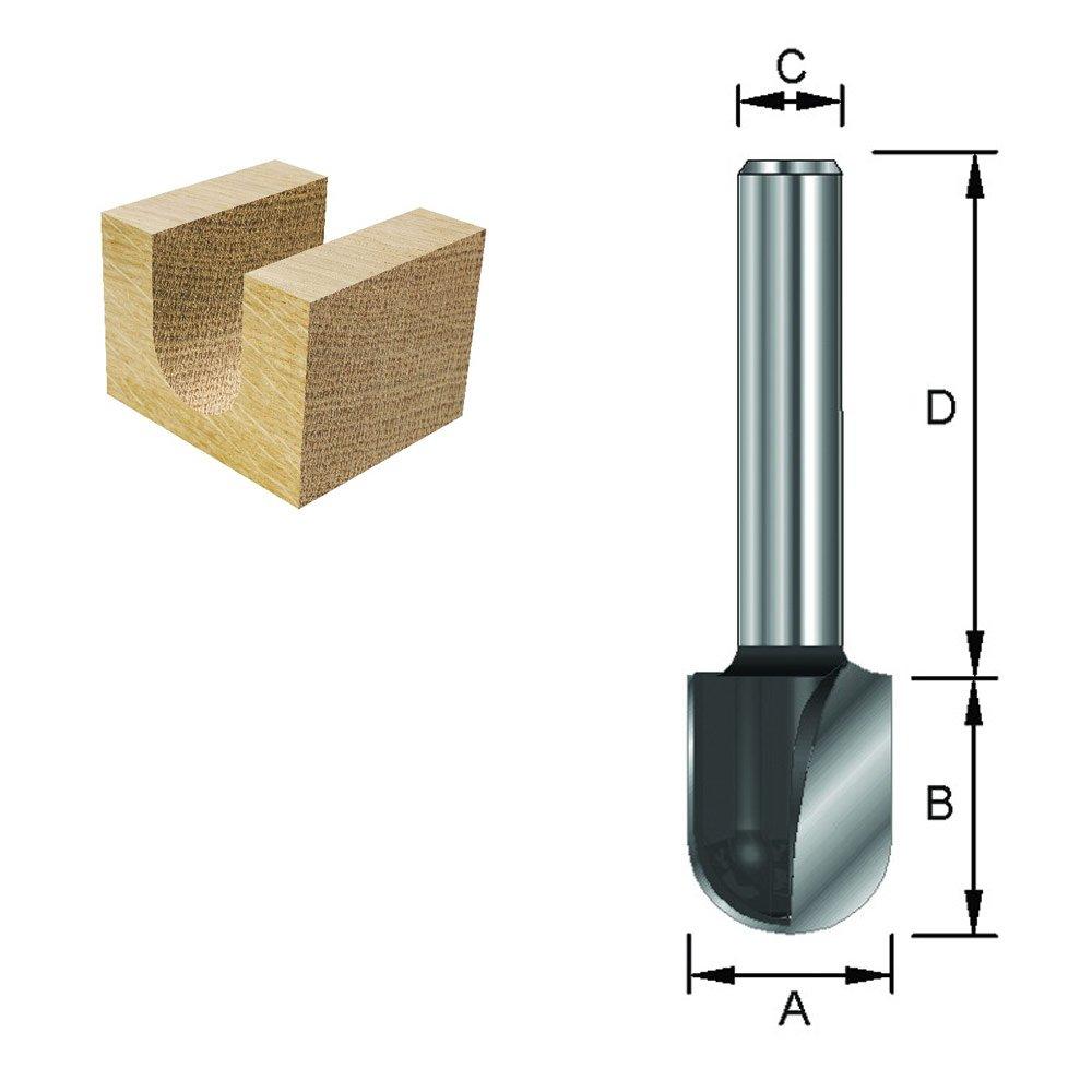 8 mm Durchmesser A ENT 12582 Wasserrinnenfr/äser HW Schaft HM R 6,35 mm B 15,9 mm C 12,7 mm D 32 mm
