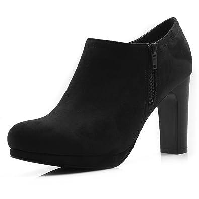 Allegra K Damen Rund Schuhe Reißverschluss Seite hohe Absätze Plattform Knöchel Stiefel, Deep Rot/EU 37.5