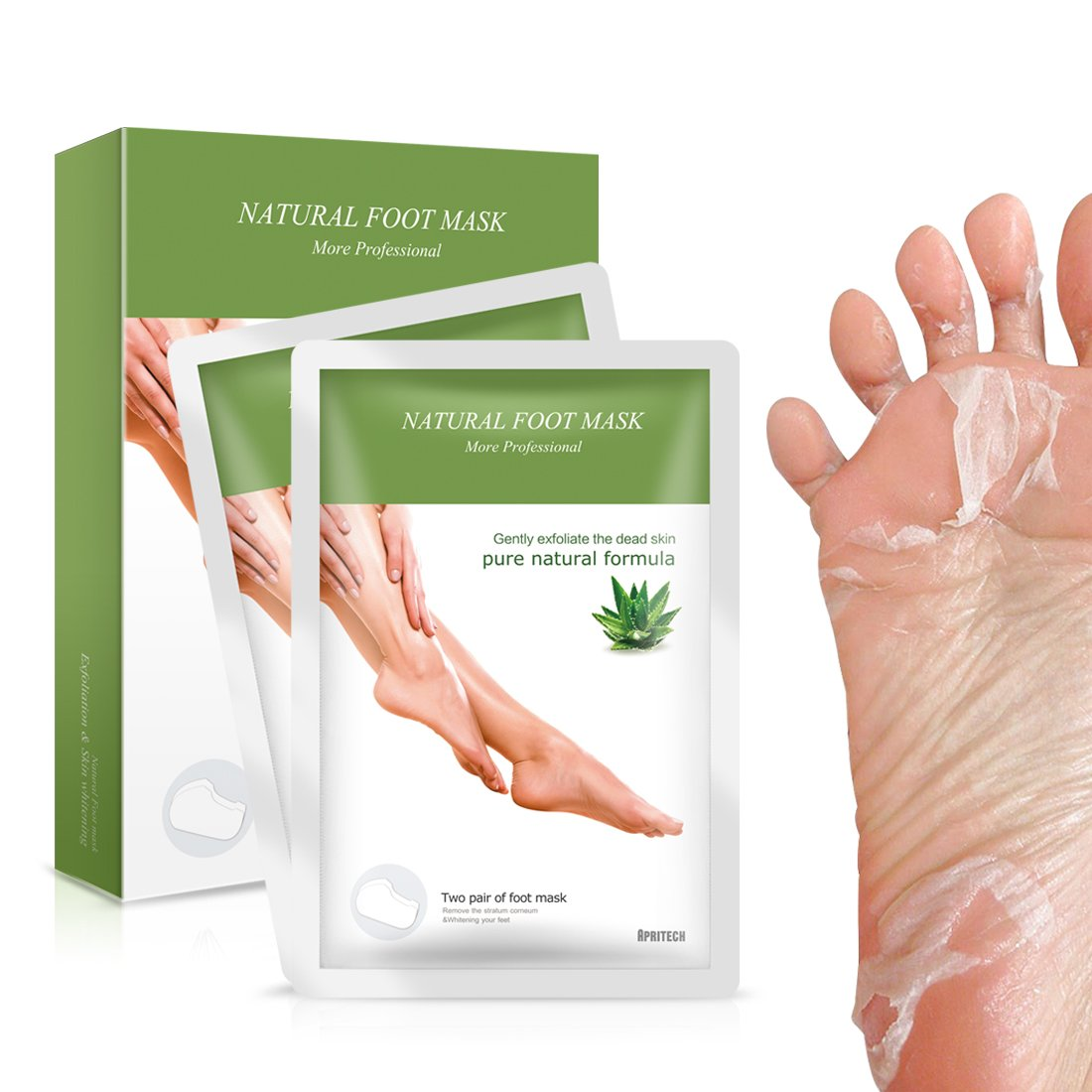 APRITECH® Exfoliating Peel Foot Sock Mask, Peeling Away Dry Dead Skin, Callus Removerin Just a Weeks!!! -2 Pair Foot Soaks Socks (blue)