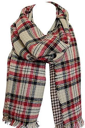 Echarpe double face réversible écharpe en tartan à carreaux écharpe châle  écharpe (Beige Rouge Noir)  Amazon.fr  Vêtements et accessoires ead7532300f