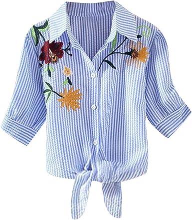 Darringls Camisetas para Mujer, Camiseta Bordado Flor Blusas ...