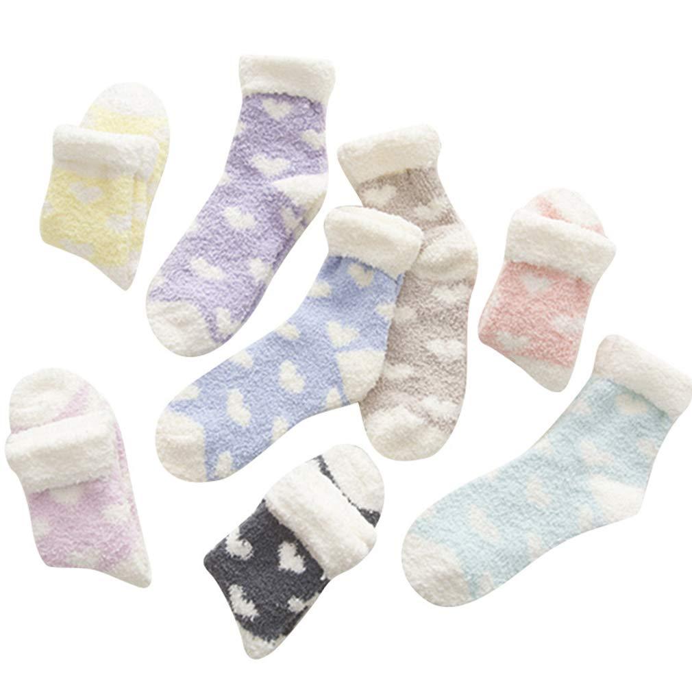 Beito 6 paia donne accoglienti cashmere calzini Soffici velluto corallo Socks addensare Warm Ragazze Piano sonno Socks colore casuale