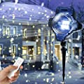 Christmas Projector Lights,YMing Star Motion Rotating Waterproof White Snowflake Slide Show Led Snowfall Fairy Landscape Shower Projection Lighting for Outdoor Holiday Wedding Party Outside Decoration