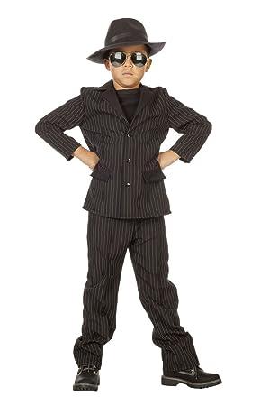 Disfraz de gánster negro niño 13-14 años (164 cm): Amazon.es ...
